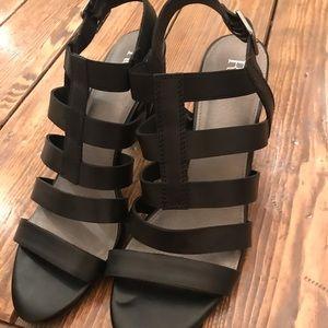 Reba Black Leather Sandals Size 11